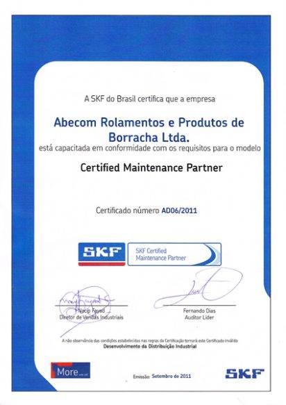 Certificado CMP SKF Abecom 2011