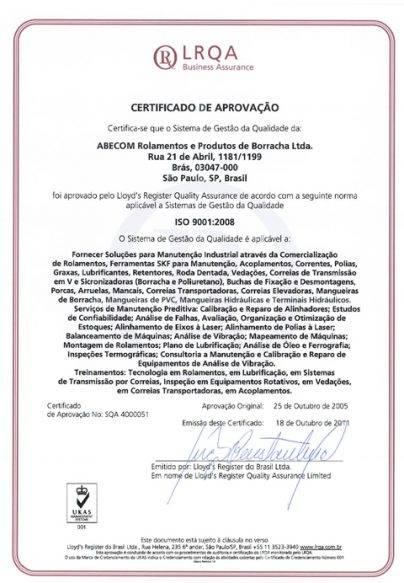Certificado ISO 9001 Abecom 2008