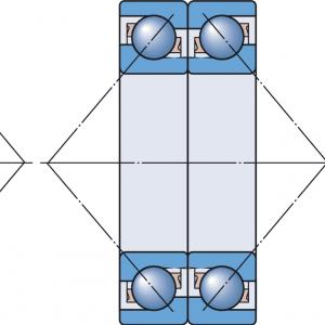 montagem de Rolamento de esfera de contato angular com uma carreira