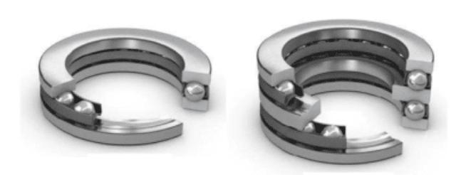 rolamento axial de esferas com escora simples e escora dupla