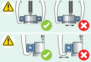 centralização do eixo-árvore e posição da garra para a extração com saca rolamentos SKF