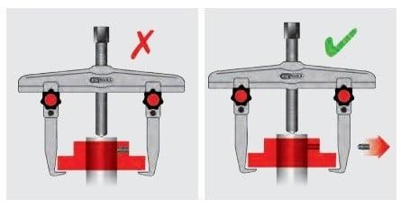 dica 3 retirando o extrator de polia do equipamento