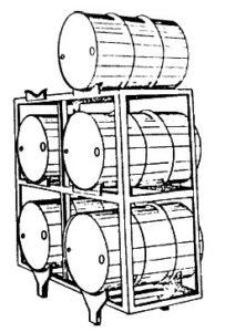 Tambores de lubrificante sobre paletes